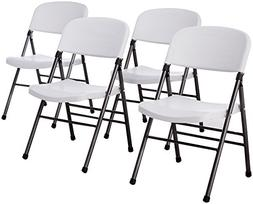 Cosco Resin Folding Chair with Molded Seat and Back White Sp