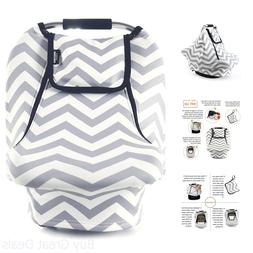 Baby Car Seat Cover Stretchy Canopy Grey Breathable Windproo