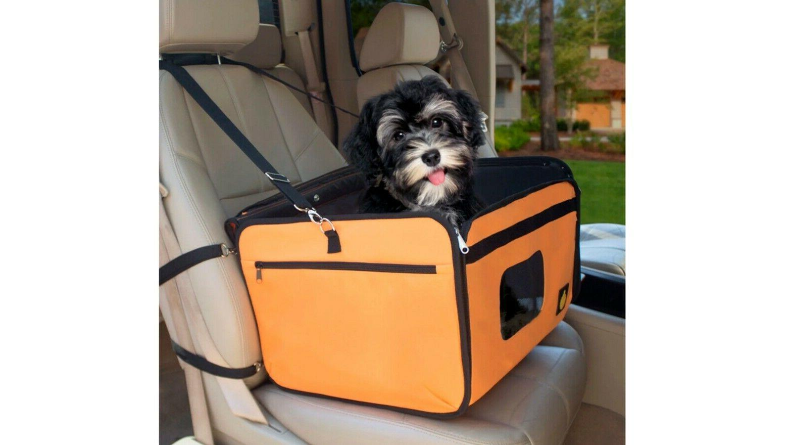 Dog Booster Car Seat Carrier Chair W/ Top Canopy & Shoulder