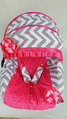 baby girl gray pink infant car seat cover canopy cover fit m
