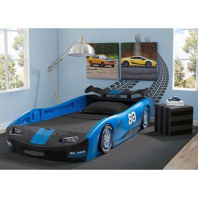 Kids Twin Bed Race For Boys Room Blue