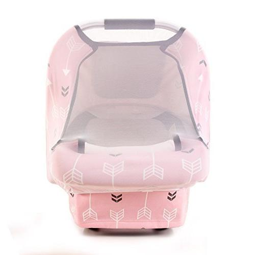 Stretchy Covers Infant Car Autumn Windproof, Adjustable Free,Universal Fit,Pink Arrowshower