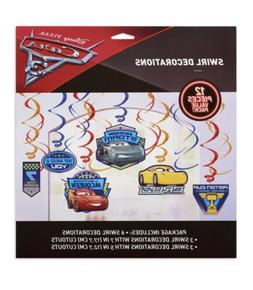Disney Pixar Cars Party Swirl Decorations 12-Count Pack, NEW